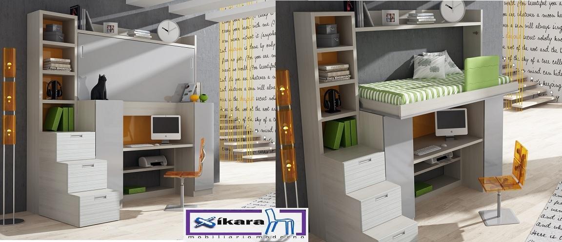 cama y armarios debajo y escalera con cajones lateral
