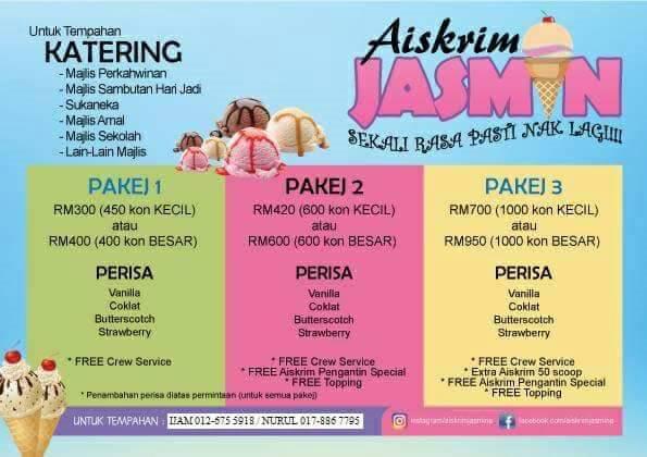 Gerai Di serbu ,  Aiskrim Jasmin, Pakej Aiskrim murah, pencuci mulut untuk majlis, cadangan pencuci mulut. Desert Sedap.