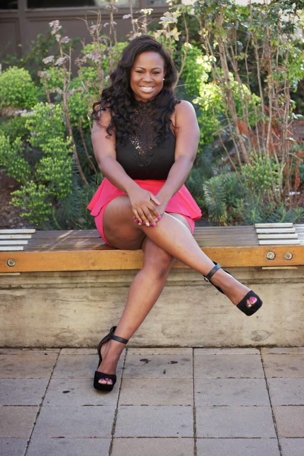 aded062f24 Black lace top pink peplum skirt dress Black Plus Size Fashion Blogger  Melissa Geddis