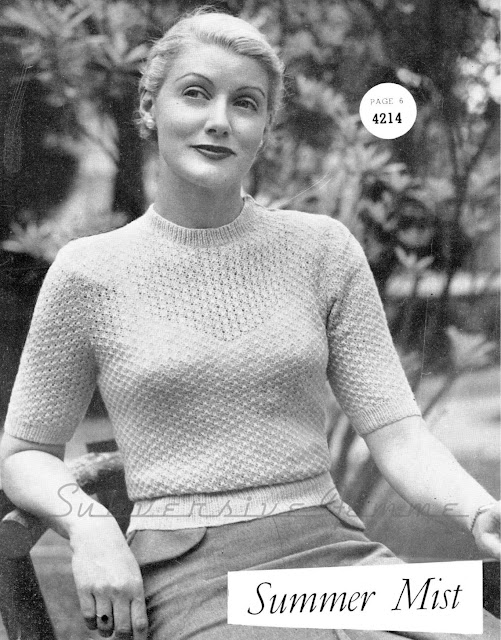 The Vintage Pattern Files: Free 1940s Knitting Pattern - Summer Mist Jumper