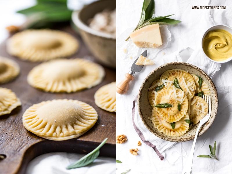 Ziegenkäse Ravioli mit Walnüssen, Honig und Senf in brauner Butter mit Salbei