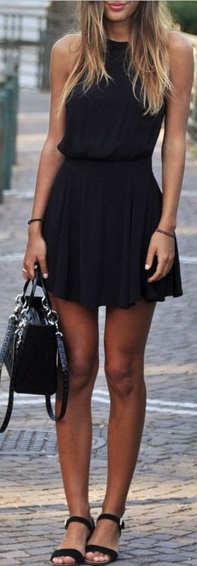 all black everything: dress + bag + sandals