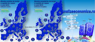 Topul statelor UE după numărul deînnoptări de turiști în 2016