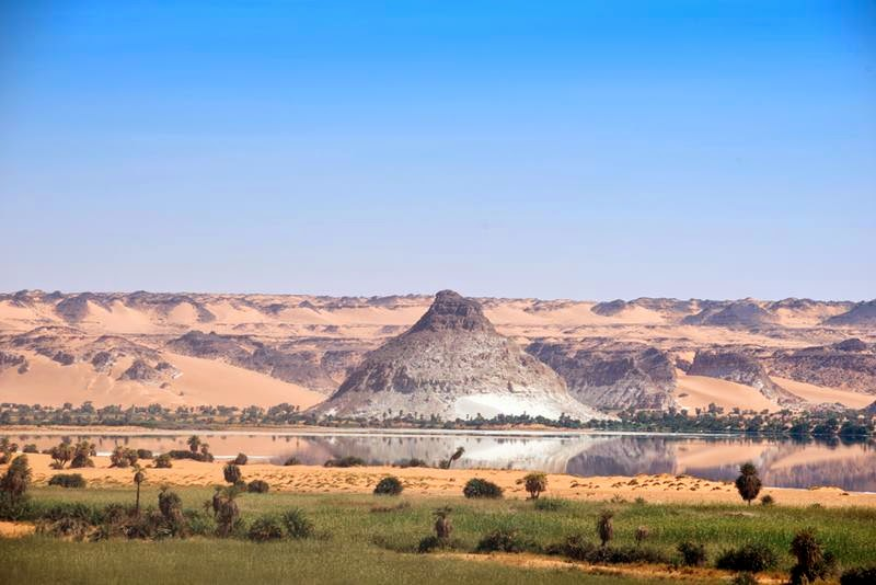 Lakes of Ounianga are a series of  18 lakes in the Sahara Desert, in North-Eastern Chad, occupying a basin in the mountains of West Tibesti and Ennedi East.
