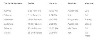 HORARIOS DE FAMOSOS ( servidores en español )