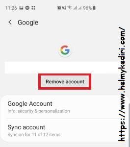 Reset akun google