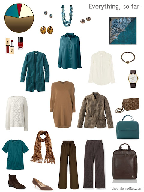 travel capsule wardrobe in brown and teal with cream