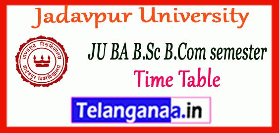 Jadavpur University UG Odd Semester Time Table