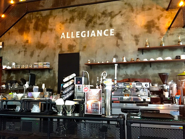Barista's brewing area inside Allegiance Cafe in Nampo, Busan, South Korea