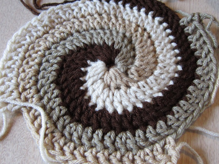 yarn, crochet, afghan, coffee, Caron One Pound, spiral