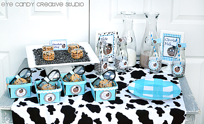 milk and cookies table, cow print, milk jars, berry baskets, nerd glasses