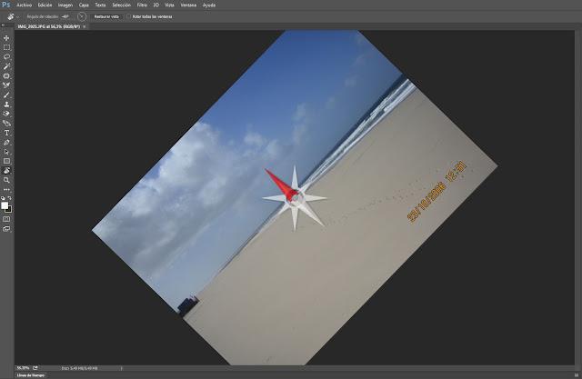 Rotación de un lienzo -45 grados en Photoshop