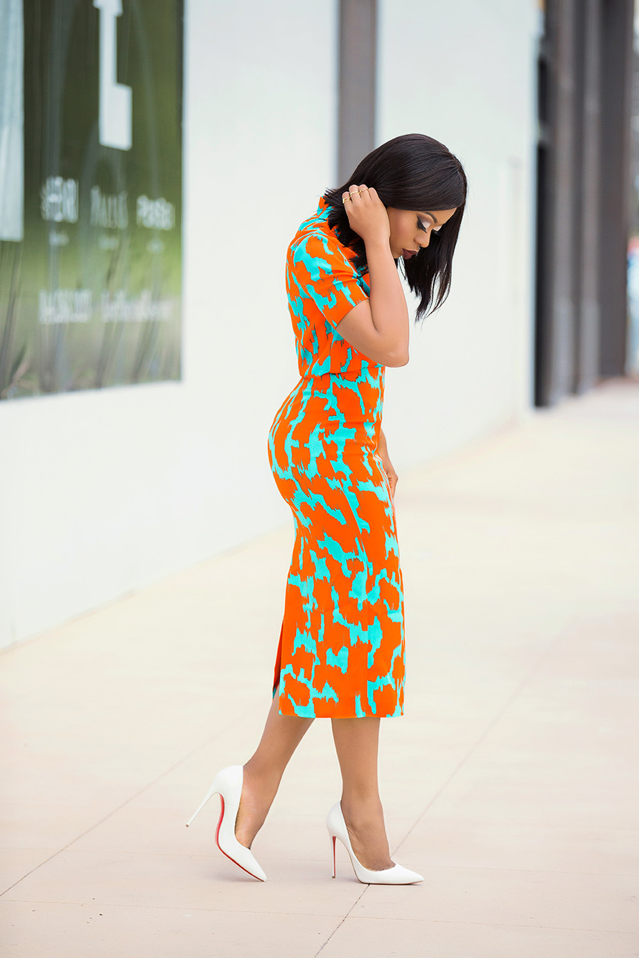 DVF bold print pencil skirt and top, work style, www.jadore-fashion.com