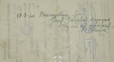 Reverse of the prescription issued to Josef Jakobs on 14 August 1941.