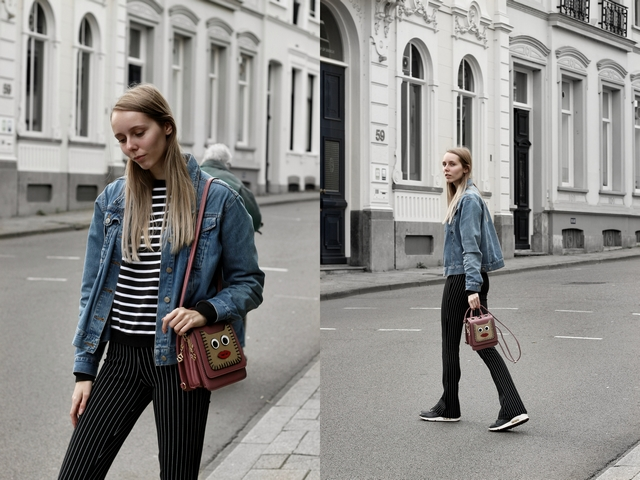 Make people stare blog outfit flare legging the sting streepjes broek Marcez tas vintage spijkerjas arnhem street style nike air max inspiratie