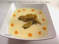 Crema de calçots con alcachofas y salsa de calçots
