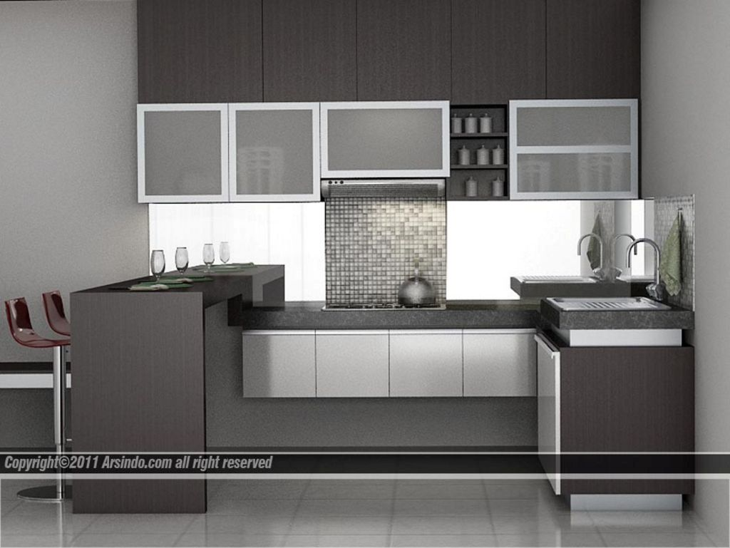 gambar desain interior kitchen sets minimalis populer