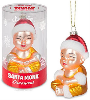 Santa Monk Glass Holiday Ornament