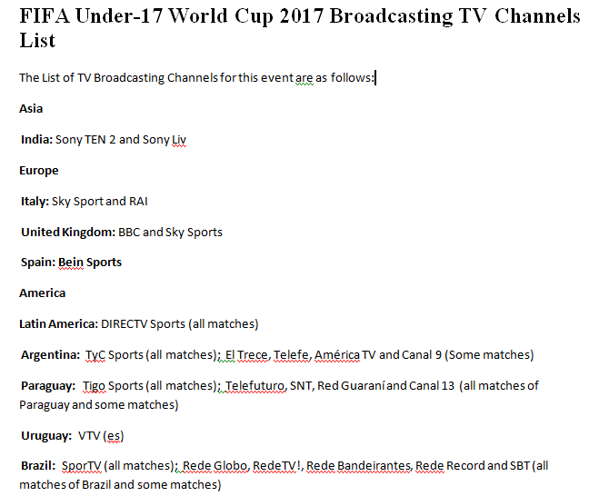 FIFA Under-17 World Cup 2017 Broadcasting TV Channels List -