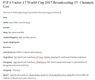 Fifa 2017 TV channels for broadcasting