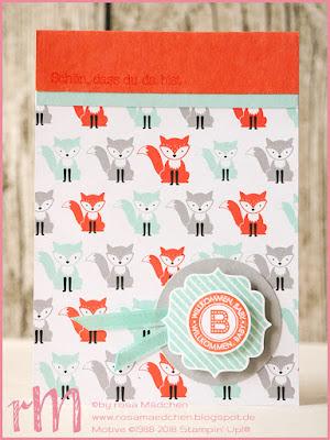 Stampin' Up! rosa Mädchen: Babykarten mit Designerpapier Ausgefuchst, Zum Nachwuchs, Foxy Friends und Fürs Etikett