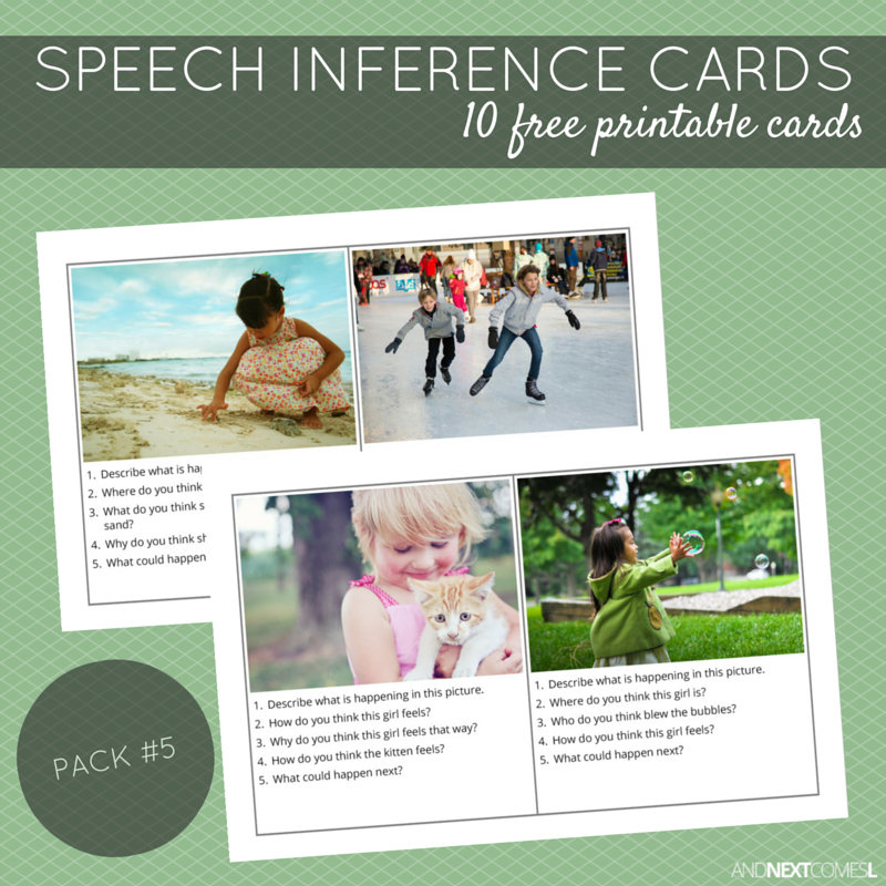 Free Printable Speech Inference Cards Pack 5 And Next Comes L
