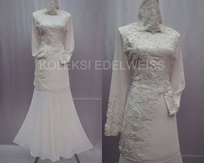 Celosia -Baju Kurung Moden NIkah Laca dan Manik  Warna Putih