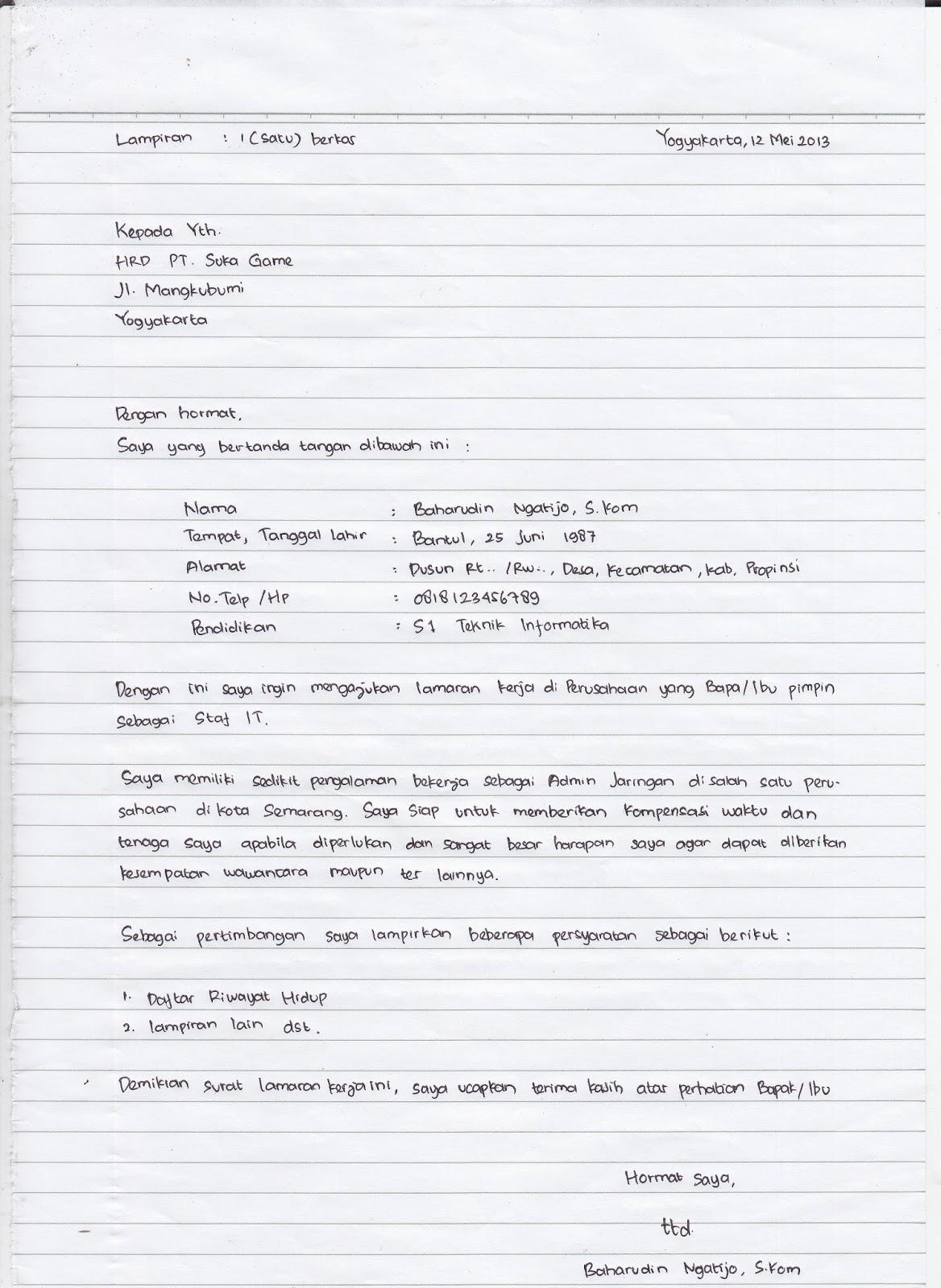 Bagaimana Menulis Tangan Surat Lamaran Kerja Umum