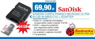 SanDisk karta pamięci MicroSDXC Ultra 64 GB 48 MB/s C10 + adapter Biedronka ulotka