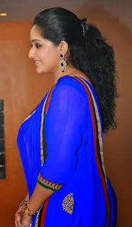 Kavya Madhvan in blue saree