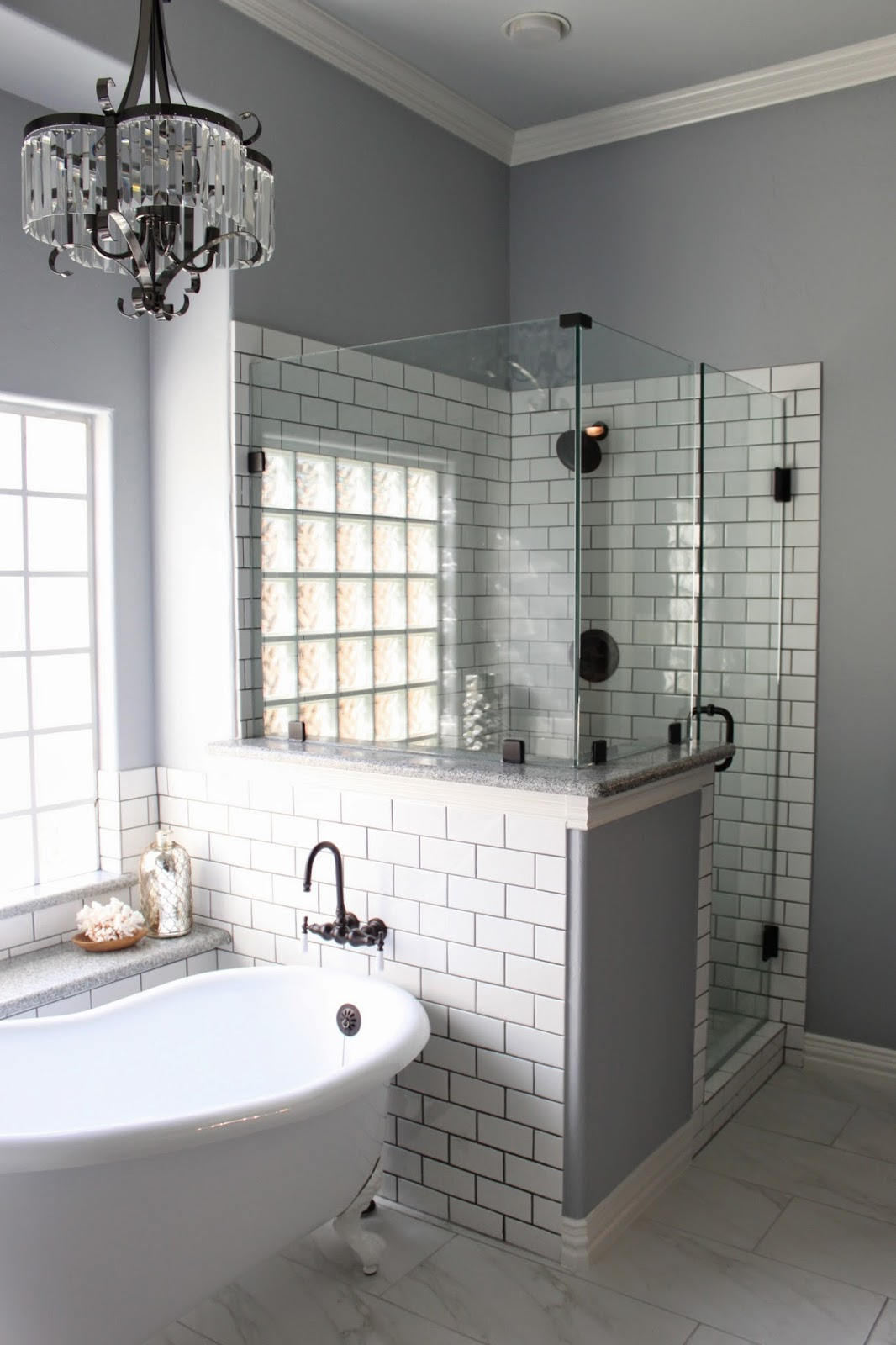 Lazy Gray by Sherwin-Williams; Bathroom paint color