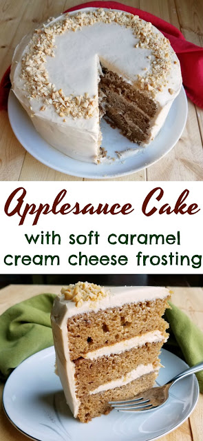 Slightly spiced and super moist applesauce cake goes perfectly with a soft and luscious cream cheese and caramel frosting.  This is the stuff fall dreams are made of!