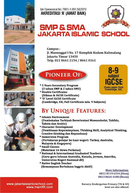 brosur smp dan sma jakarta islamic school