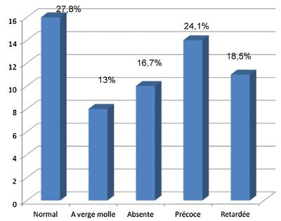 図:脳卒中後の勃起不全の程度分布