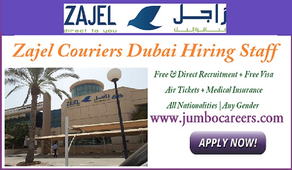 Zajel Couriers Dubai jobs, Latest jobs in Dubai courier company,