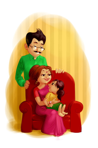 insurance company advertisement father mother with young girl cartoon illustration