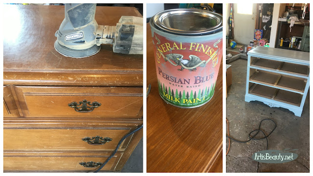 small dresser makeover using rockwell tools random orbital sander and general finishes persian blue milk paint