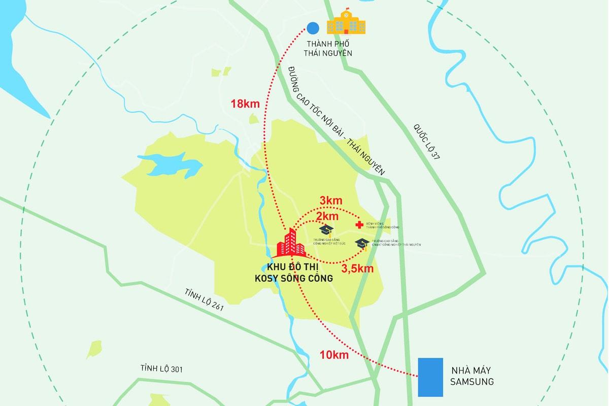 Vị trí dự án Kosy Sông Công