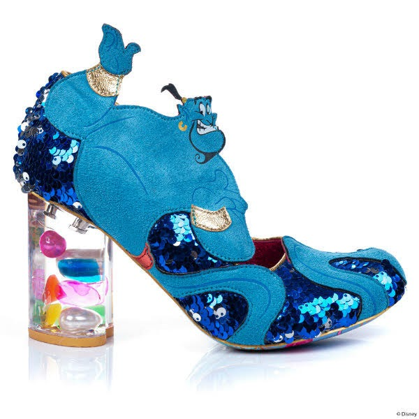 lucite heeled shoes with Genie character applique on side
