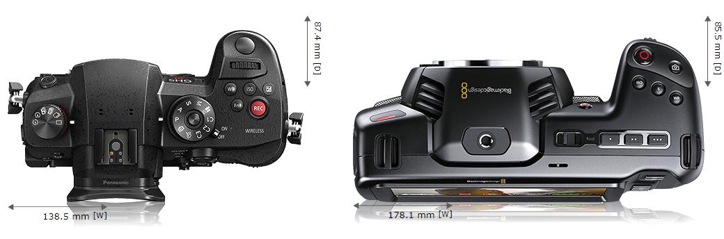 Сравнение размеров Panasonic GH5s и Blackmagic Pocket Cinema Camera 4K - вид сверху