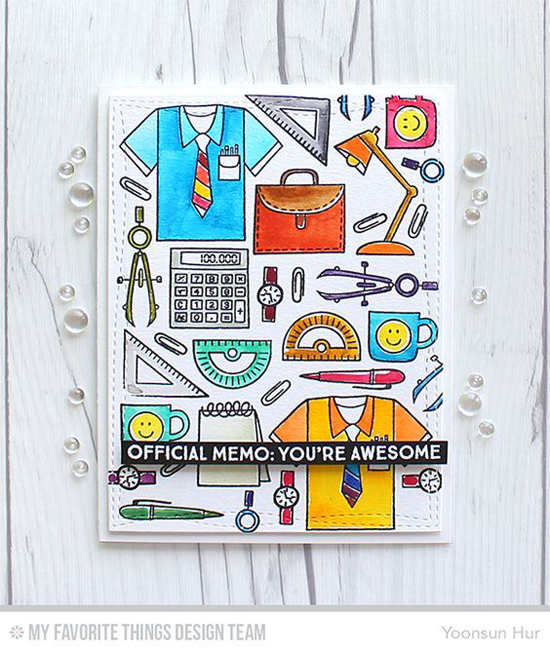 You're Awesome Card by Yoonsun Hur featuring Get Down To Business stamp set and the Wonky Stitched Rectangle STAX Die-namics #mftstamps