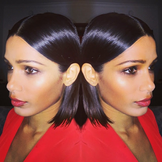 spent two amazing days with @freidapinto for art basel miami ,. what a dream 👼 hair @brycescarlett makeup me quinn murphy makeup , freida pinto ,, Freida Pinto Red Dress hot HD Pics