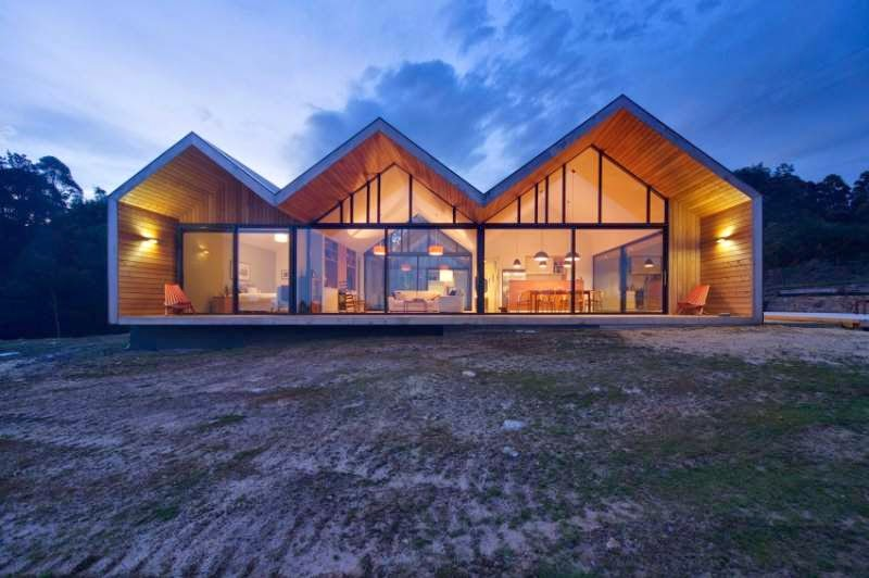 Contemporary House with Three Gable Roofs in Tasmania