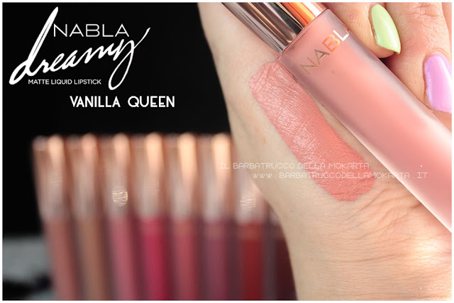 Vanilla queen Dreamy Matte Liquid Lipstick rossetto liquido nabla cosmetics swatches