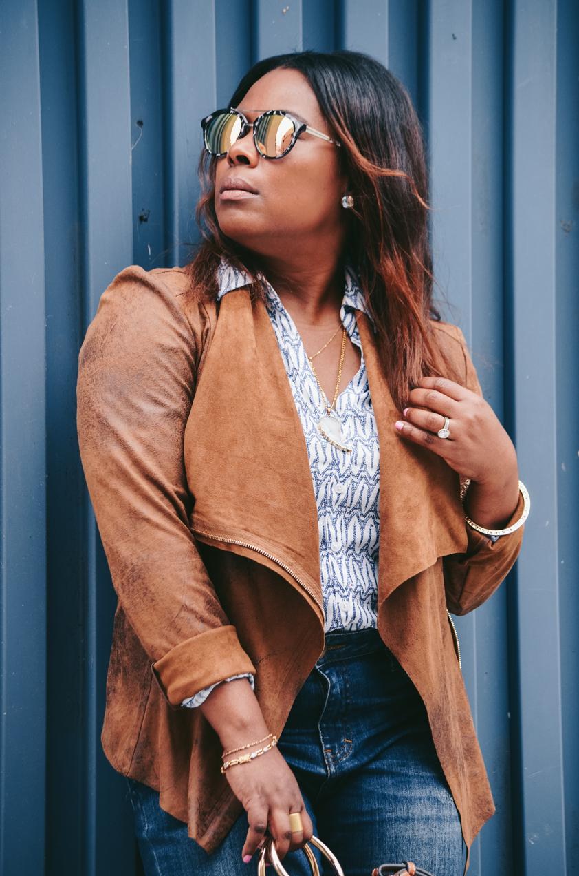 BeckaBellaStyle_Paige Released Hem Denim-Mango Bag-Ann Taylor Sunglasses-Brown jacket-Madewell Nutmeg Slides Mule Sandals