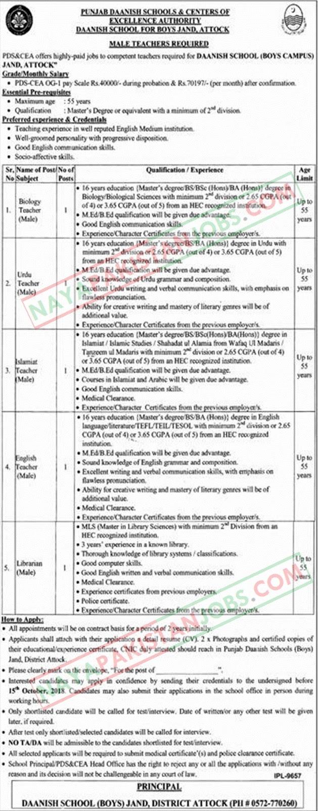 Latest Vacancies Announced in Daanish Schools Govt of Punjab 01 October 2018 - Naya Pak Jobs