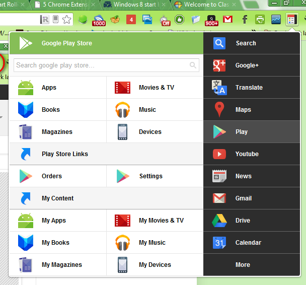 Google Play Store Black Menu