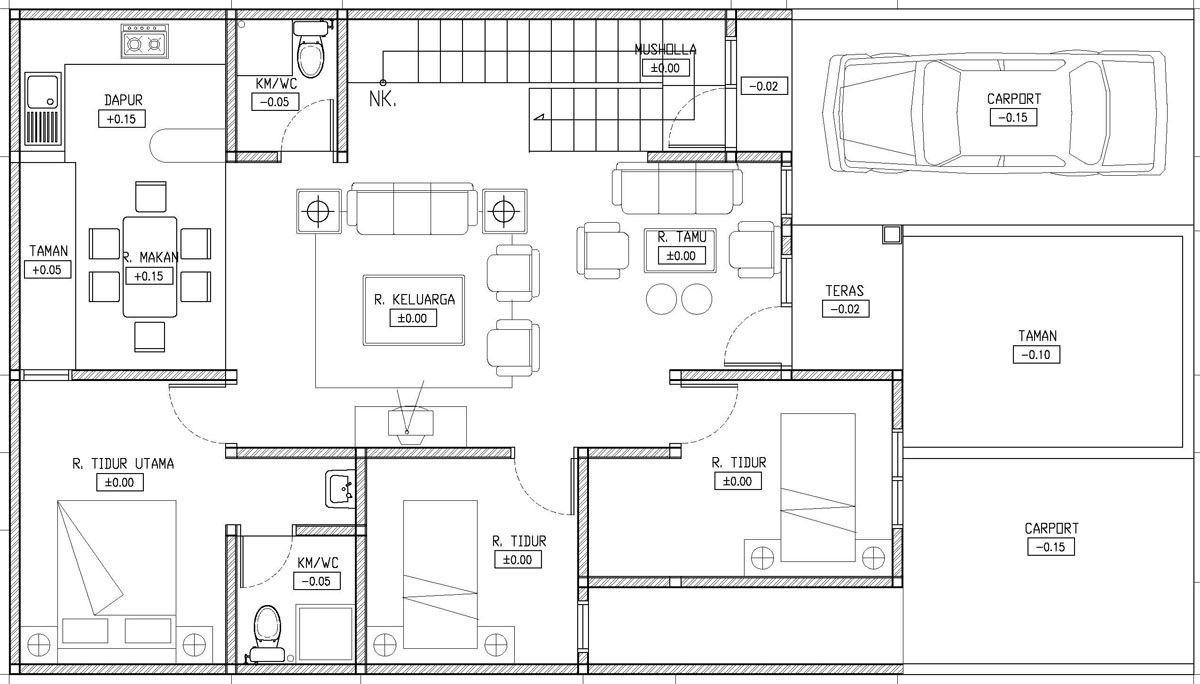 Denah Rumah 3 Kamar 1 Lantai