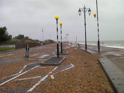 southsea seafront in bad weather pebbles on cycle lane