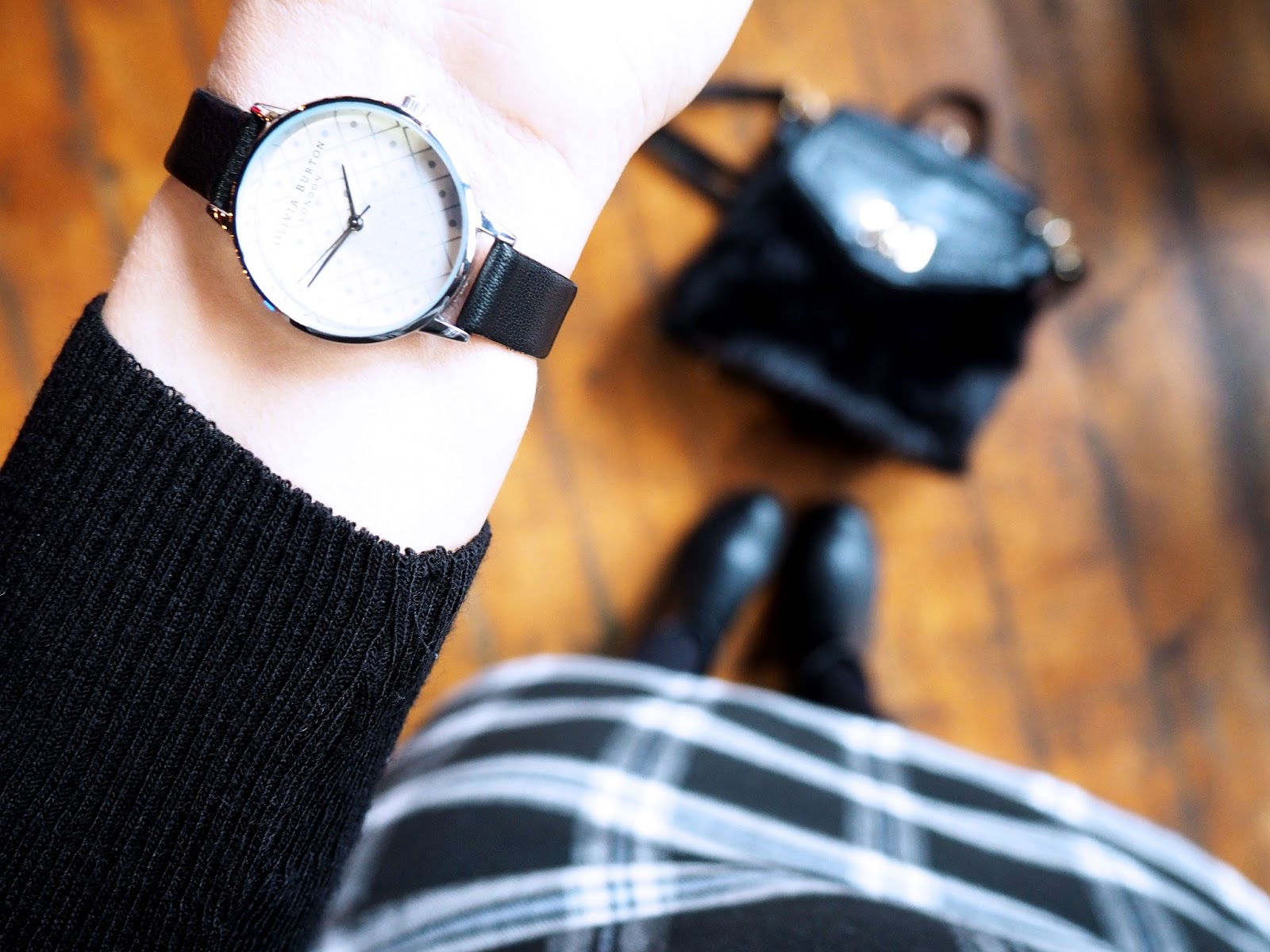 Olivia Burton Silver & Black Watch